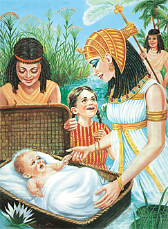 Baby Moses in Nile River found by Pharaoh's Daughter.